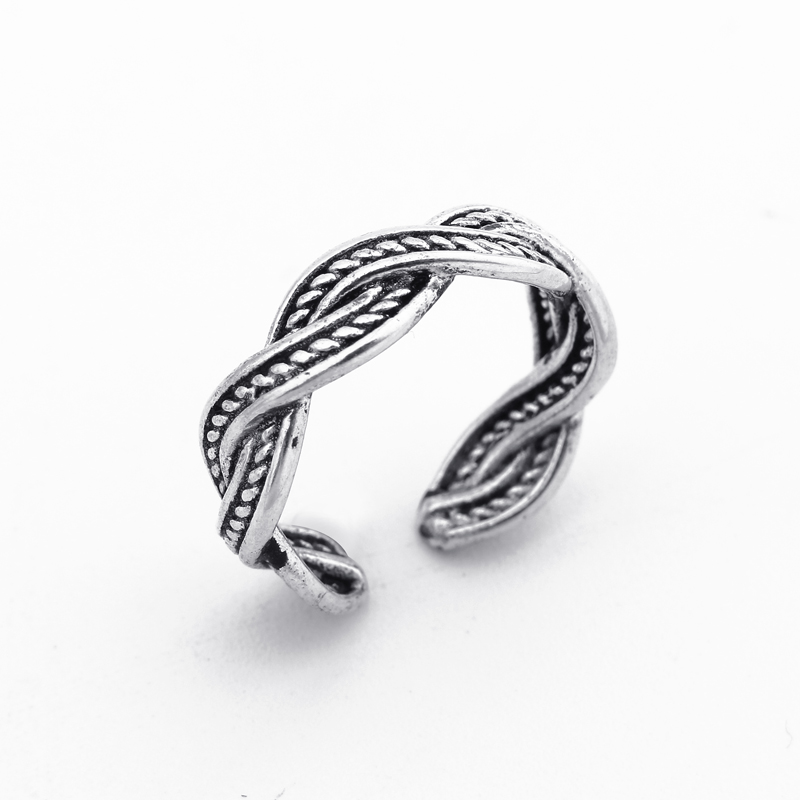 1pc Retro Antique Silver Twist Ring Minimalism Wave Opening Finger Ring Adjustable Size Tail Ring Bagues Party Jewelry Gift R28