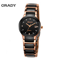 Brand Grady 2015 New Fashion Watch For Male Steel Ceramic Mens Watch Free Shipping 4colours