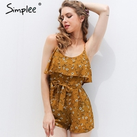 Simplee Boho Chic Women Jumpsuit Romper Ruffle Blackless Sexy Bodysuit Summer Beach Chiffon Elegant Overalls Playsuit