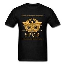 จักรวรรดิโรมันSPQRแขนสั้นTเสื้อวัยรุ่นGreat Shirts Oคอผู้ชายTเสื้อสำหรับกลุ่ม