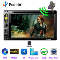 Podofo 2 din Car Radio 6.2'' Bluetooth FM MP5 DVD CD Stereo Multimedia Player 2DIN Mirror link AUX/USB/SD/TF Input With Camera