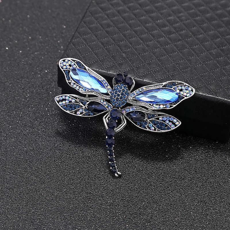 YAOLOGE ファッションクリスタルヴィンテージトンボブローチ女性昆虫ブローチピンドレスコートアクセサリーかわいいジュエリーギフト
