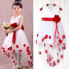 Hot Sales Popular Christmas Baby Girls Kids Flower Petals Party Wedding Prom Fancy Dress 2Colors