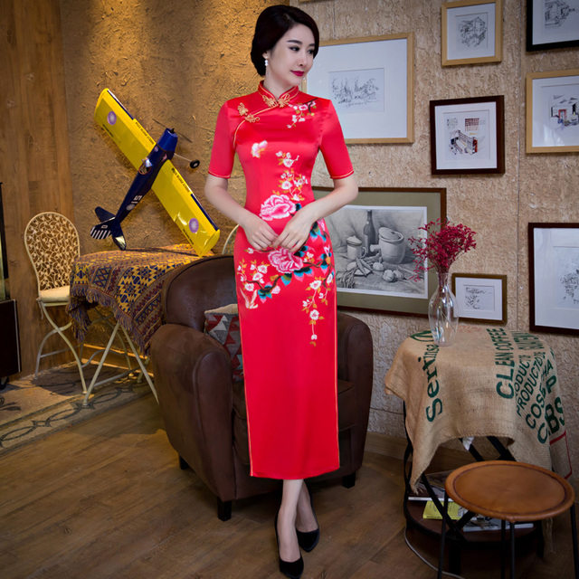 Free Shipping New Sale Long Qipao Chinese Women's Clothing Red Cheong-sam Dress Vintage Long Cheongsam For Women
