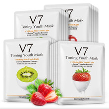 1pcs Face Skin Care Moisturizer V7 Fruit Kiwi/Strawberry/Plants Aloe/ Pomegranate Facial Mask Extract Whitening Cute Masks