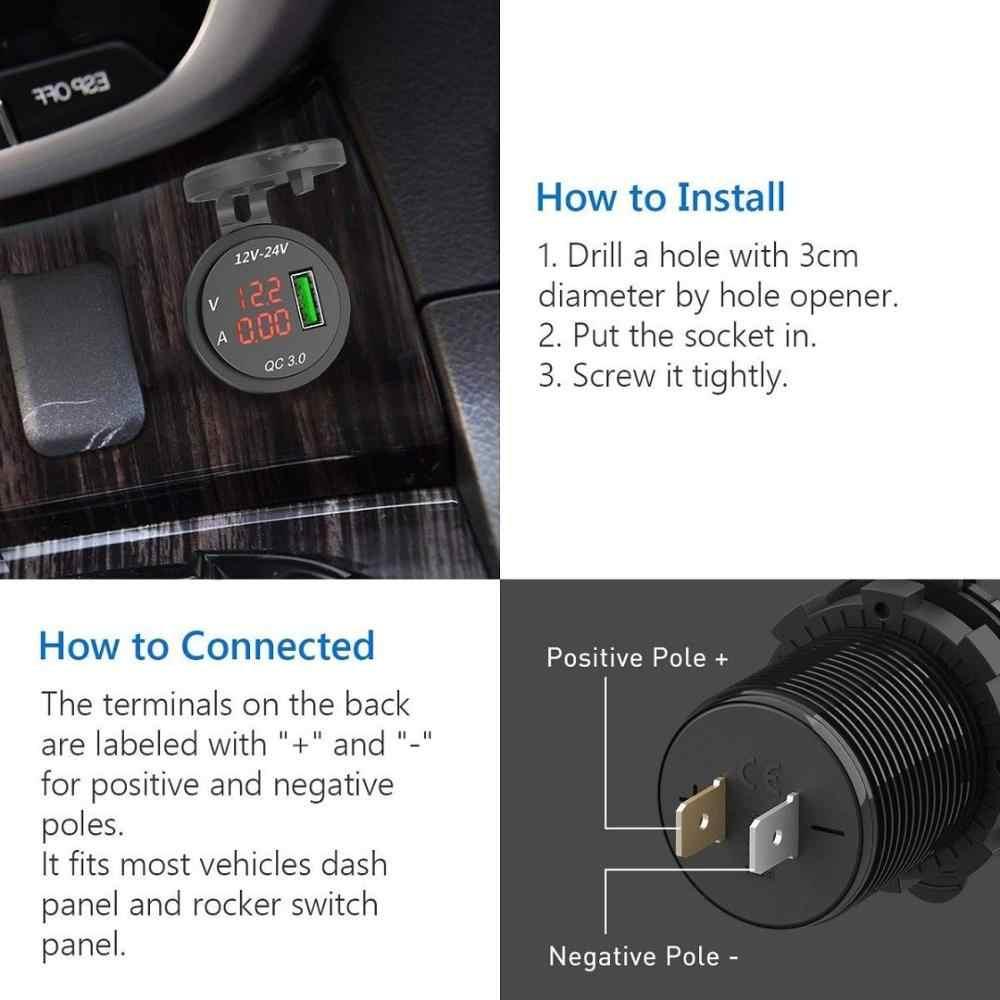 العالمي الأسود ولاعة السجائر شاحن سيارة QC 3.0 USB 5 فولت/3A شحن محول مأخذ التوصيل الفولتميتر مقياس التيار الكهربائي للهاتف المحمول