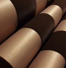 Modern Stripe  Velvet Flocked Wallpaper Roll Background Dark Gold
