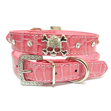 PU Leather Dog Collar | Rhinestone Collars With Skull Accessory