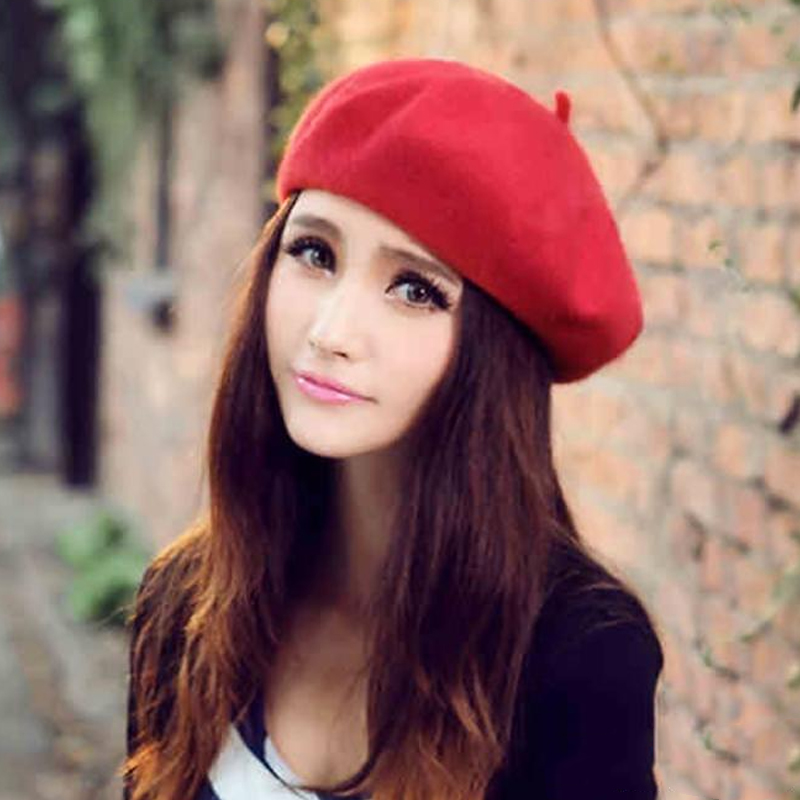 Elegant Warm Fleece Red Beret Hat For Women 2018 Spring Winter Wool Knit Ladies Beret Flat Cap Adjustable Hip Hop Female Berets in Girl 39 s Hats from Apparel Accessories