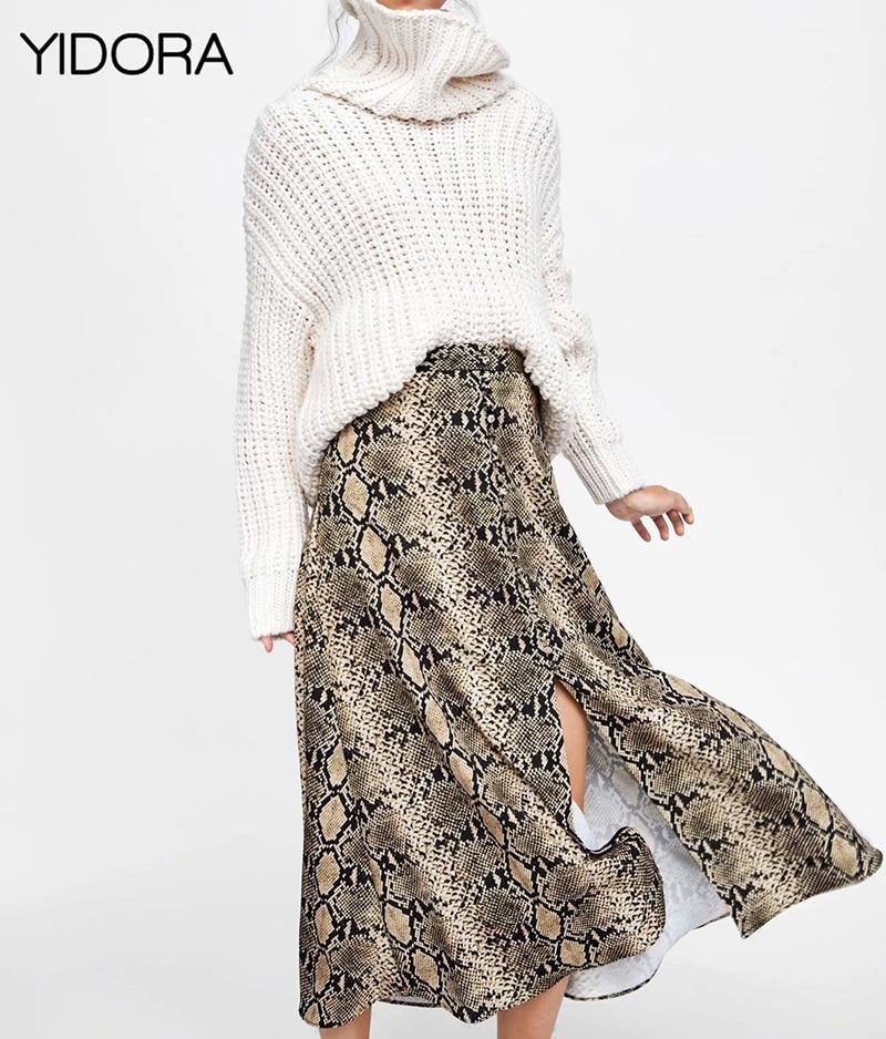 Latest Ladies Python Printing Midi Skirt - Yidora 2018 New Fashion WomenFemale Snake PrintSnakeskin Printed Skirt Side Vents