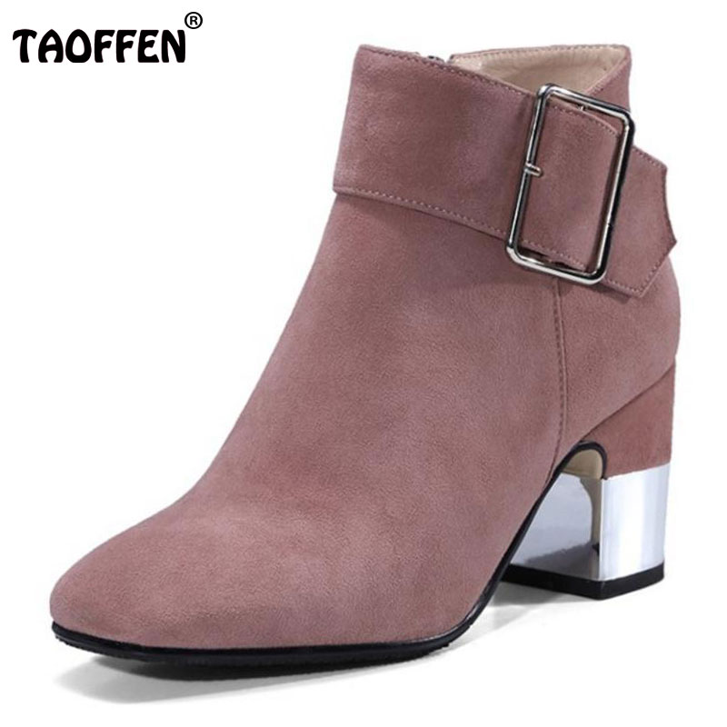 TAOFFEN Ladies Real Leather High Heel Ankle Boots Women Metal Buckle Zipper Shoes Women Winter Warm Plush Botas Size 34-39 hot women winter snow ladies low heel ankle belt buckle martin boots shoes kh 39 17mar09