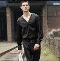 M-3XL de Los Hombres Remata camisetas de moda de Verano delgado negro camisa de vestir de manga larga Delgado V-cuello de Satén camisas de modelos de Pasarela trajes del cantante