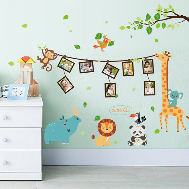 Captivating Cartoon Animal Photo Frame Large Wall Stickers Animals Decals Kids Room  Decor Bedroom Kindergarten School Diy Removable