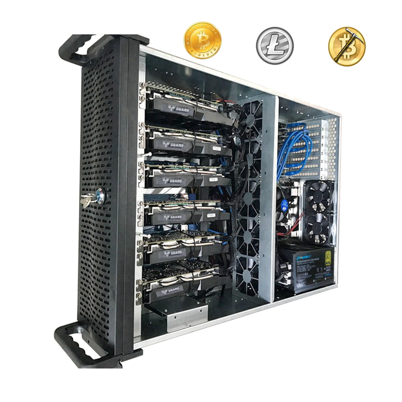 Mining Case Rig USB Miner PC Server Rack Crypto Coin Open Air Frame ETH BTC XMR 4U With Lock FOR GTX 1060 1070 1080 6 Video Card