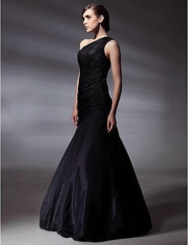 Simple One Shoulder Black Floor length Sleeveless Mermaid Evening ...