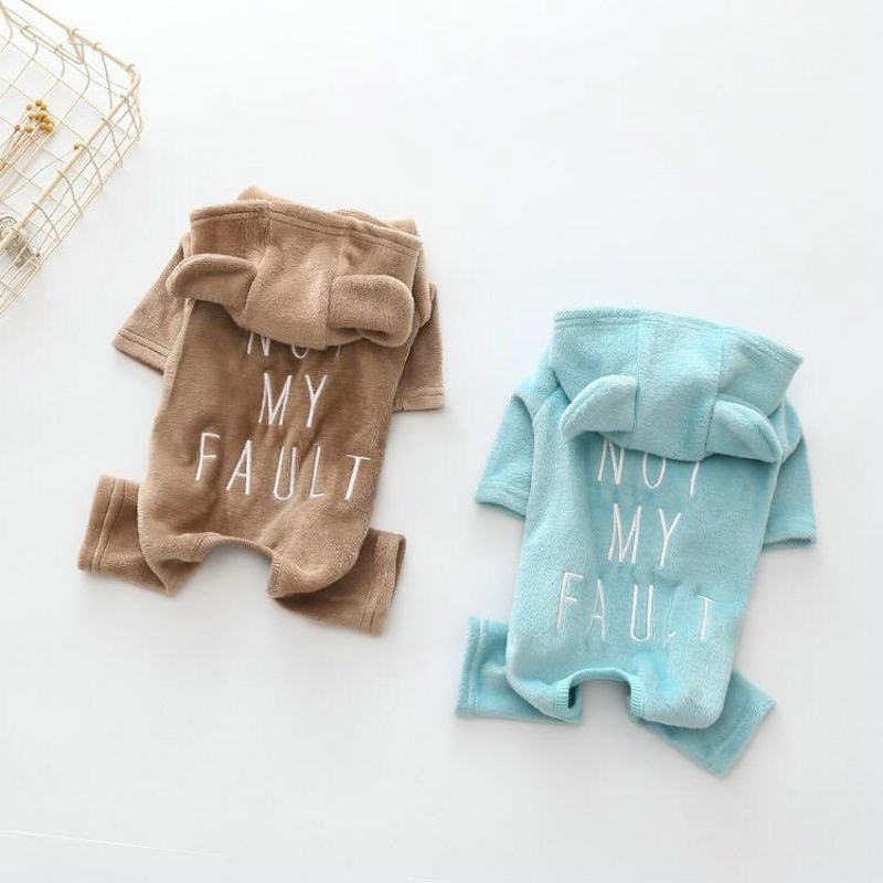 Small Dog Pajamas Clothes Soft Winter Pet Dog Four Legs Jumpsuits with Bear Ear Solid Color Ropa Perro Coat Dog Costume