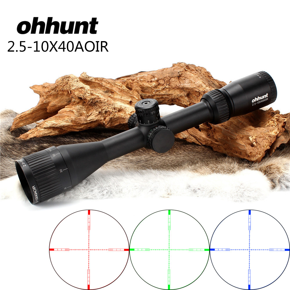 ohhunt 2.5-10X40 AOIR Full Size Riflescope RGB Mil Dot Illuminated Wire Reticle Shooting Tactical Optics Sight Rifle Scope hunting ohhunt 5 20x50 aoir optics riflescopes half mil dot r g b illuminated reticle turrets lock reset full size rifle scope