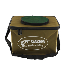 Foldable Fabric Portable Canvas square Fish Bucket Tackle Box Water Pail for Fishing Outdoors S Size Fishing Bag