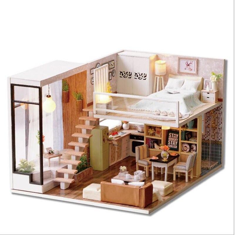 Bricolage Miniature maison de poupée en bois jouets en attente du temps à la main maison meubles jouets pour enfants anniversaire cadeau créatif