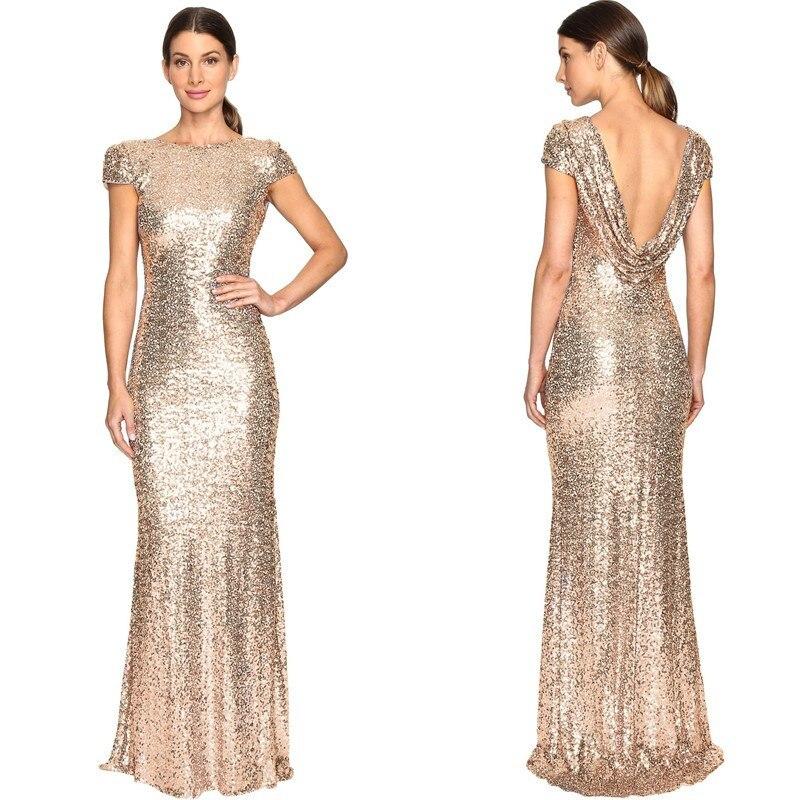 Holiall paillettes sirène robes de demoiselles d'honneur à manches courtes 2019 or Rose longue robe de soirée Abito Damigella Vestidos Longo