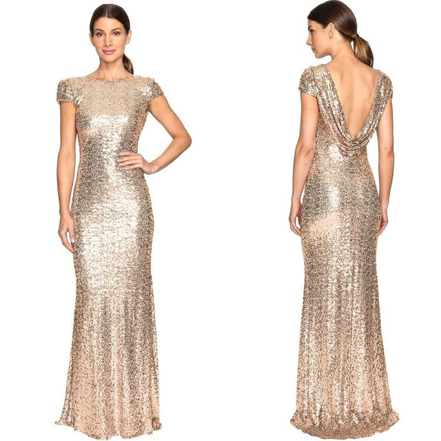 Holievery Sequins Mermaid Bridesmaid Dresses with Short Sleeves 2019 Rose Gold Long Party Dress Abito Damigella Vestidos Longo