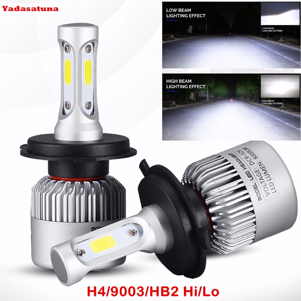 2Pcs H4 LED H7 H11 9005 9006 COB Chip S2 Auto Car Headlight/Fog Lights/DRL 72W 8000LM High Low Beam All In One Automobiles Lamp
