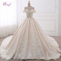 Vestido De Noiva Appliques Lace Royal Train Princess Wedding Dress 2018 Luxury Pearls Flowers Boat Neck