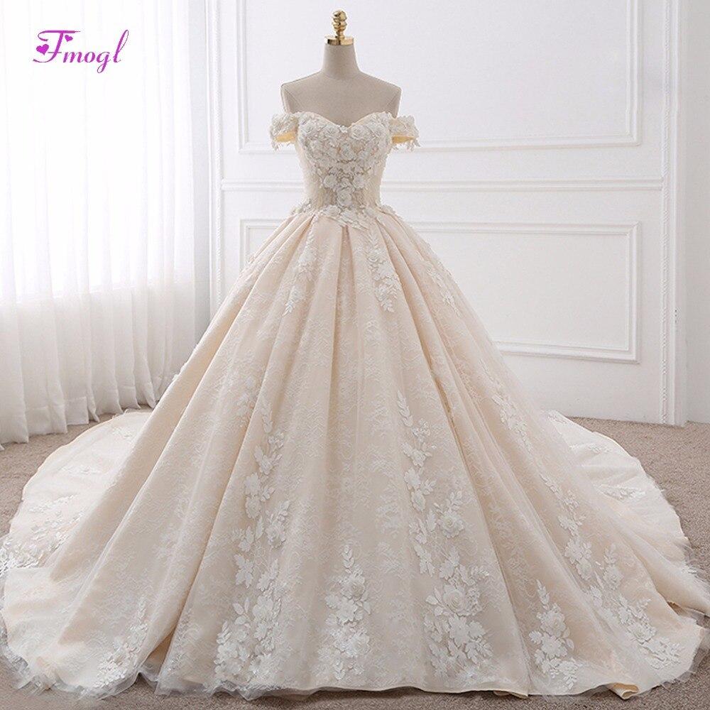 Vestido De Noiva Appliques Lace Royal Train Princess