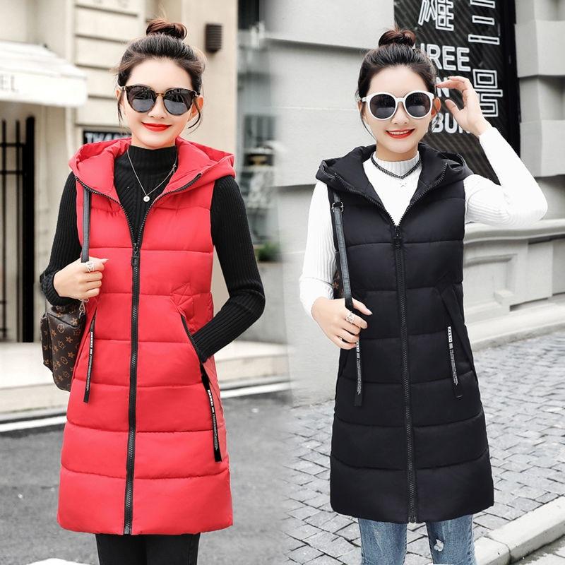 Autumn Winter Women Waistcoat Sleeveless Vest Jacket Hooded Warm Long 2