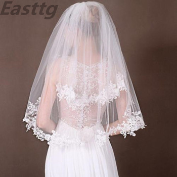 white/ivory Two Layers Elbow Length Veil Applique Lace Soft Tulle wedding veil  bridal veils with comb Wedding Accessories eudress two layers white ivory wedding veil short tulle veils with comb wedding accessories bridal veils with sequins