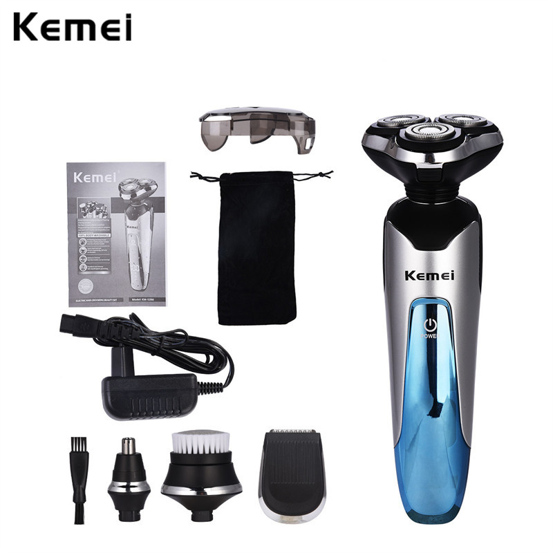 Kemei 4 in 1 Washable Professional Rechargeable Electric Shaver Men 3D Razor Beard Shaving Machine Hair Nose Trimmer +Face Brush kemei 2 heads rechargeable electric shaver reciprocating electronic shaving machine rotary hair trimmer face care razor bt 086