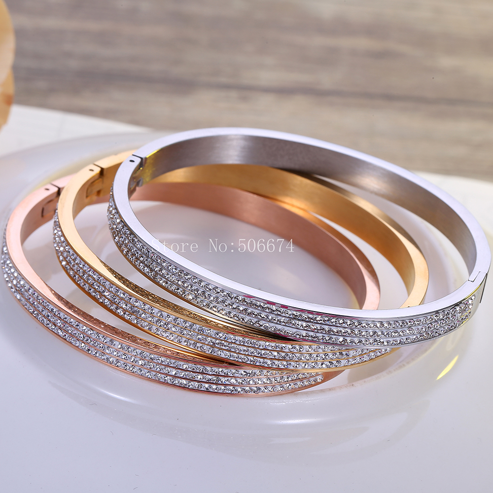 top quality 2019 Fashion AAA Rhinestone Stainless Steel Bangle Opened For Women Jewelry Bracelet Top Quality Factory Price
