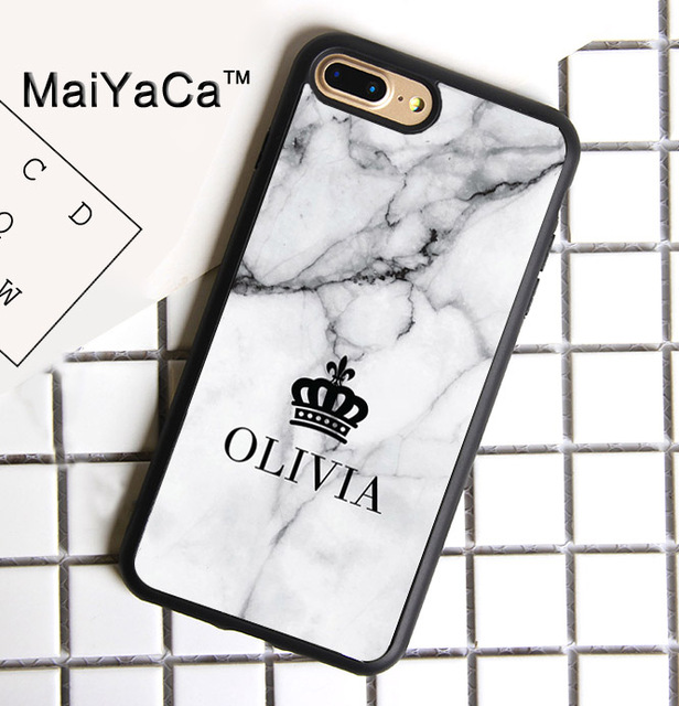 87cff9b9e937 MaiYaCa PERSONALISED MARBLE NAME CROWN CUSTOM Print Soft Rubber Cover For iPhone  8 Plus Case For Apple iPhone 8plus Phone Cases