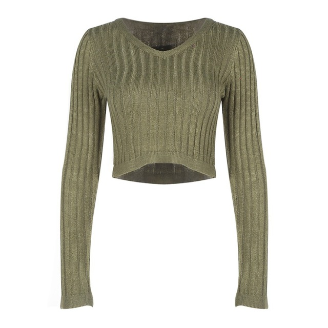 Wink Gal 2015 Autumn Winter Sexy V Neck Short Women Knitted Sweater Stripe Pullover Tops 1339