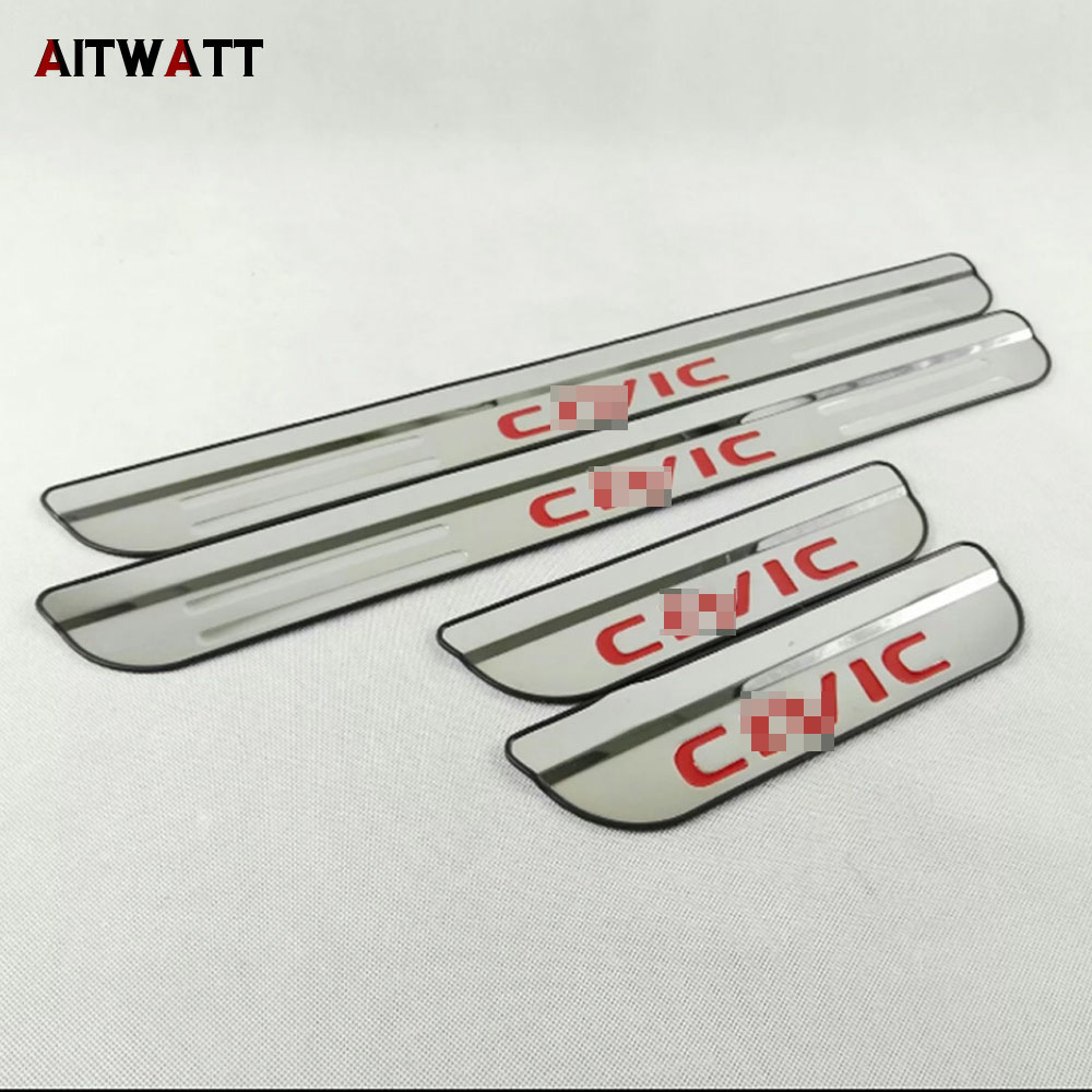 Stainless Door Sill Scuff Plate Cover For 2016 2017 Honda Civic Car Sticker Styling Accessories Trim Guard Protector Door Sills 2x cool led dynamic car door sill scuff plate guard sills protector trim for peugeot 4008 from 2012 2015 car styling