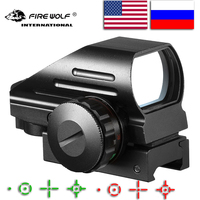 戦術反射赤/緑レーザー 4 レチクルホログラフィック投影赤ドットサイトスコープエアガン視力狩猟 11 ミリメートル/20 ミリメートルレールマウントak