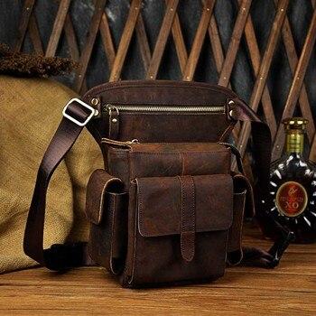 Fanny Packs For Men | Norbinus Genuine Leather Shoulder Bags Men Cowhide Drop Leg Bag Travel Messenger Bag Male Motorcycle Hip Belt Waist Fanny Pack