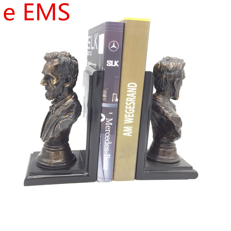 Gypsum Abraham Lincoln Bookends Bust Statesman Statue POTUS Book End Resin Craftwork Home Decorations Art Material L2346 gypsum ludwig van beethoven bust statue franz joseph haydn resin craftwork home decorations art material l2332