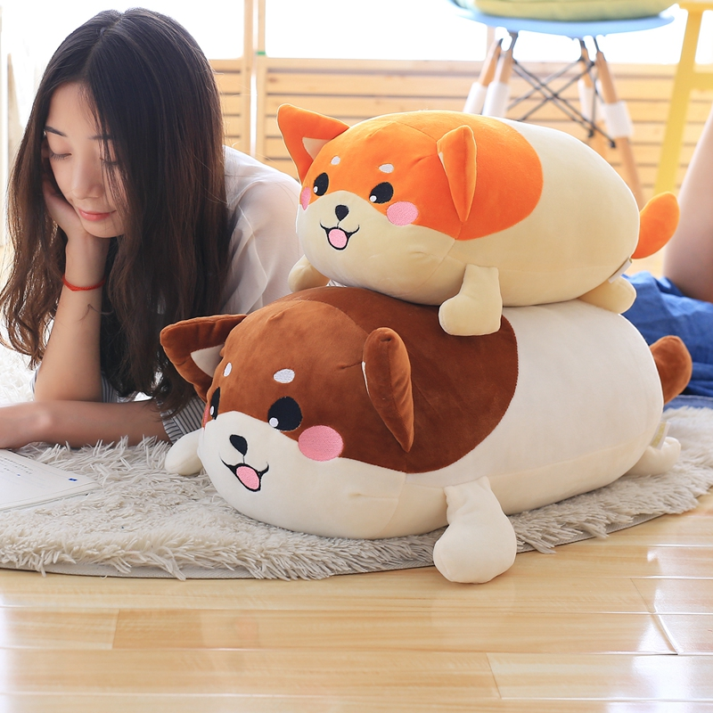 50cm Hot Selling Stuffed Shiba Inu Dog Plush Toy Cute Lying Corgi Plush Doll Soft Pillow Cushion Best Gift For Kids Children cute labrador big plush toy lying dog doll search and rescue stuffed toys children birthday gift pillow