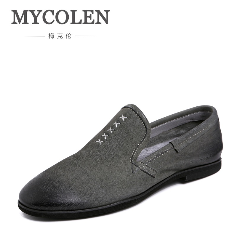 MYCOLEN New Male Shoes Luxury Vintage Casual Shoes Men Leather Comfort  Breathable Shoes Slip-On Sapatos Masculino Couro 2017 new spring imported leather men s shoes white eather shoes breathable sneaker fashion men casual shoes
