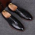 Hombres caballero ocasional formal de la boda vestido de zapatos de cuero genuino del patrón del cocodrilo tallado brogue oxfords pisos zapato de hombre de lujo