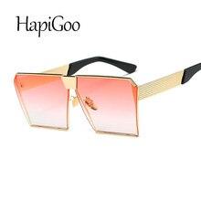 ebe3fc8ae9 HAPIGOO Vintage Oversized cuadrado Rimless gafas de sol mujer hombre espejo  Flat top grandes gafas marca diseñador gafas de sol .