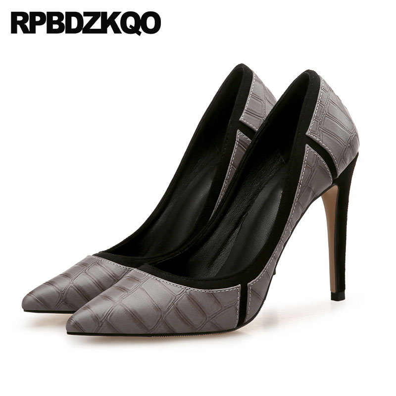 f04a7150395 US $50.14 36% OFF|Thin Super Big Size Women Pumps 2018 8cm 33 Snakeskin  Office Extreme Medium Heels Gray High Low Shoes Court Ultra Pointed Toe-in  ...