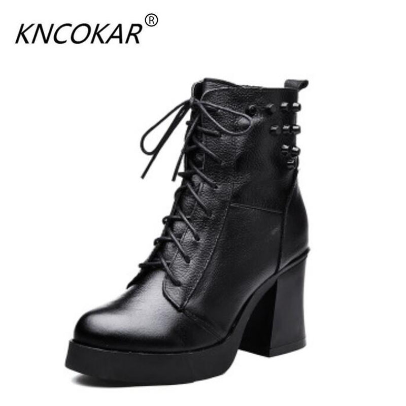 2017 winter new real leather Martin high heel big air thick and short boots waterproof platform fashion rivet in the female boot qiu dong in fashionable boots sexy and comfortable women s shoes the new national style high heel heel thick heel