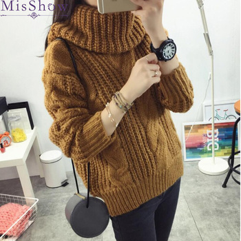 Thick Warm Women Turtleneck 2019 Winter Women Sweaters And Pullovers Knit Long Sleeve loose Elastic Sweater Female Jumper Tops loose knit drop shoulder jumper