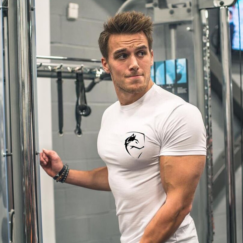 Mens Summer Gym Clothing White Cotton T Shirt Fitness