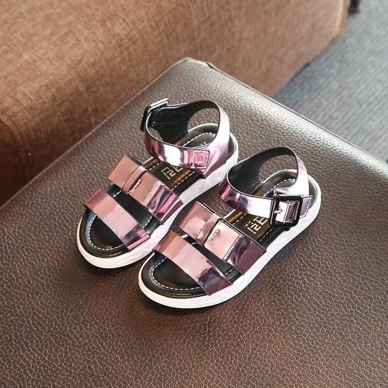 Børnesko Piger Sandaler 2017 Sommer Ny Solid Farve Blingbling Børnesko Til Pige Dejlige Bue Flad Prinsesse Sandaler