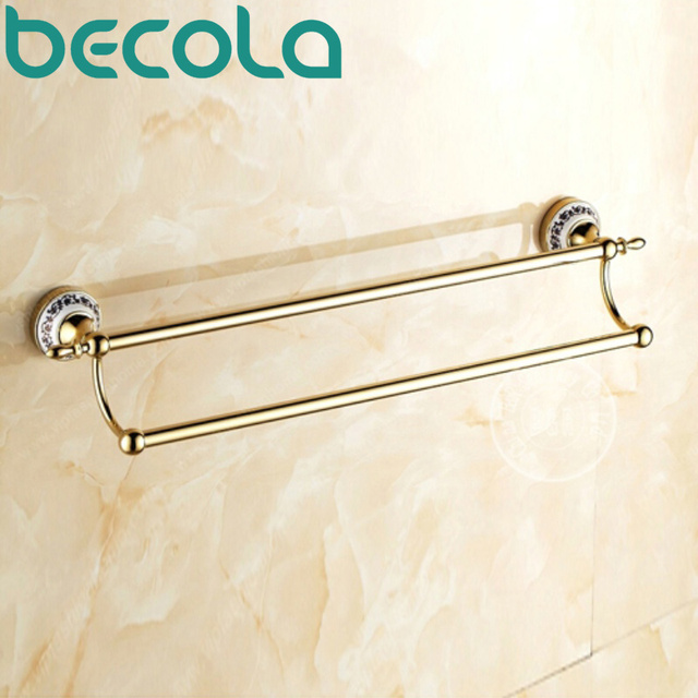 Becola Bathroom Accessories Gold Plated Double Towel Bar Hardware Wall Mounted Br Holder