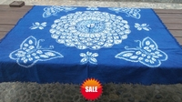 Japan Bandhani Tie dye flowers big and small butterfly Painting/Handmade Shibori Square Table Cloth Many Uses Mats pads Cover