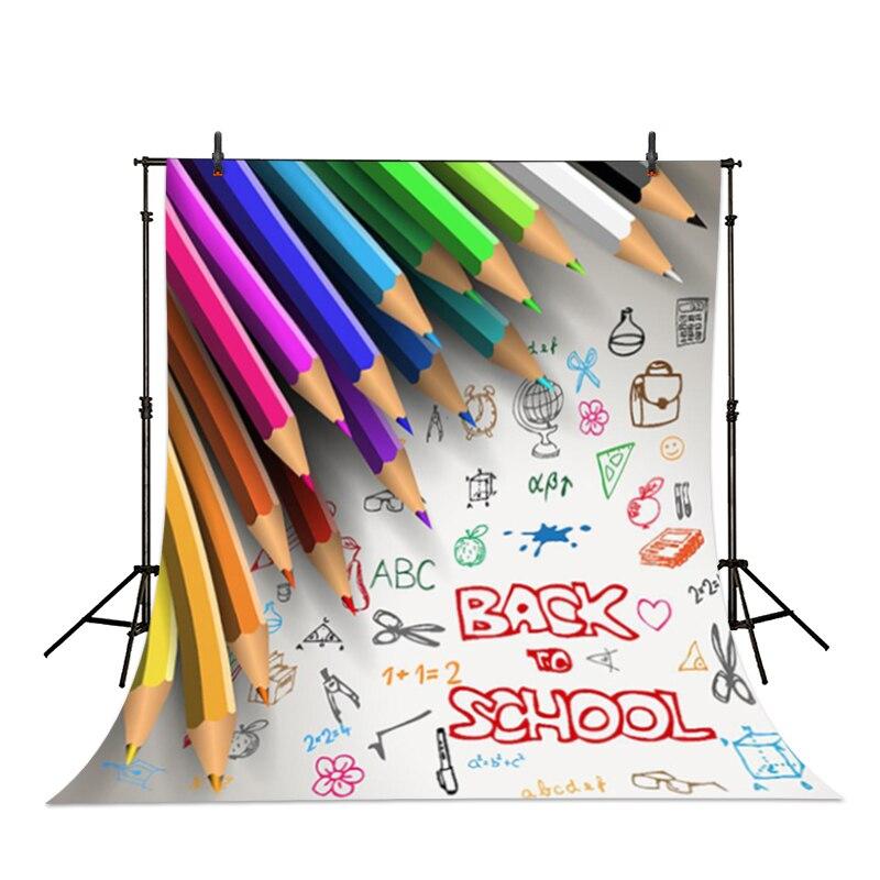 Allenjoy fotograafiline taust Värvilised pliiatsid joonlaud kooli - Kaamera ja foto - Foto 2